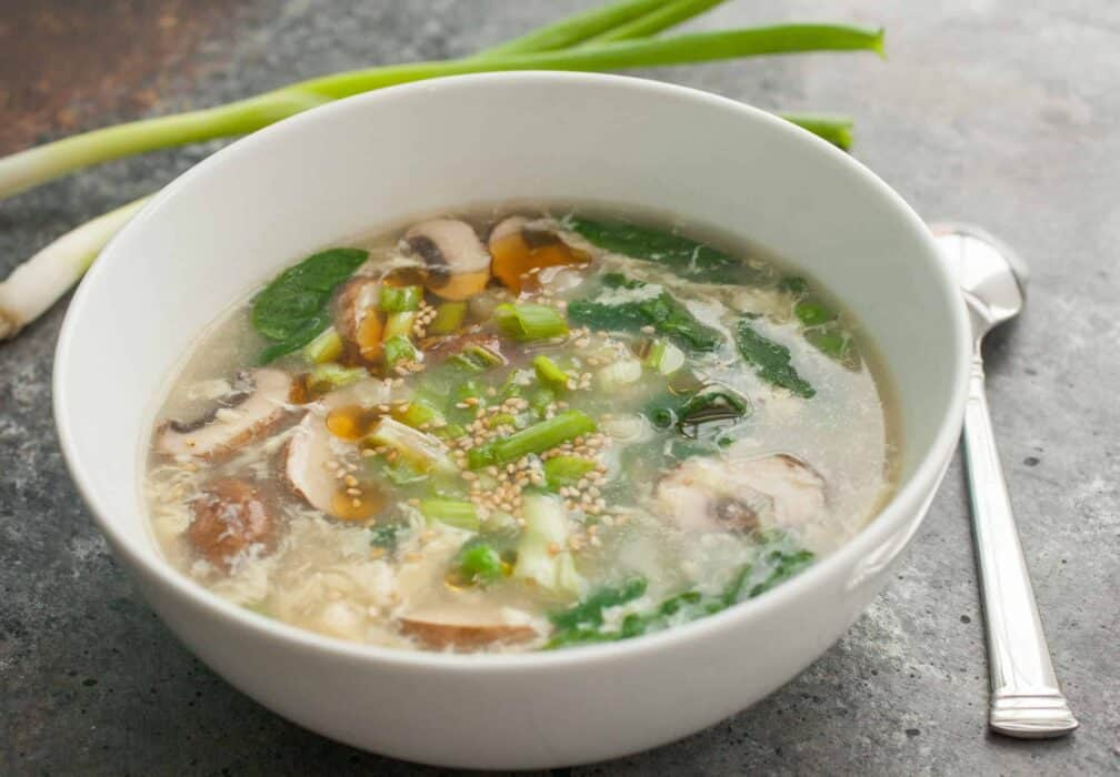 Weekday Egg Drop Soup: A flavorful and warming soup that's just like the classic take-out version. Easy to make even on a weeknight! | Macheesmo.com