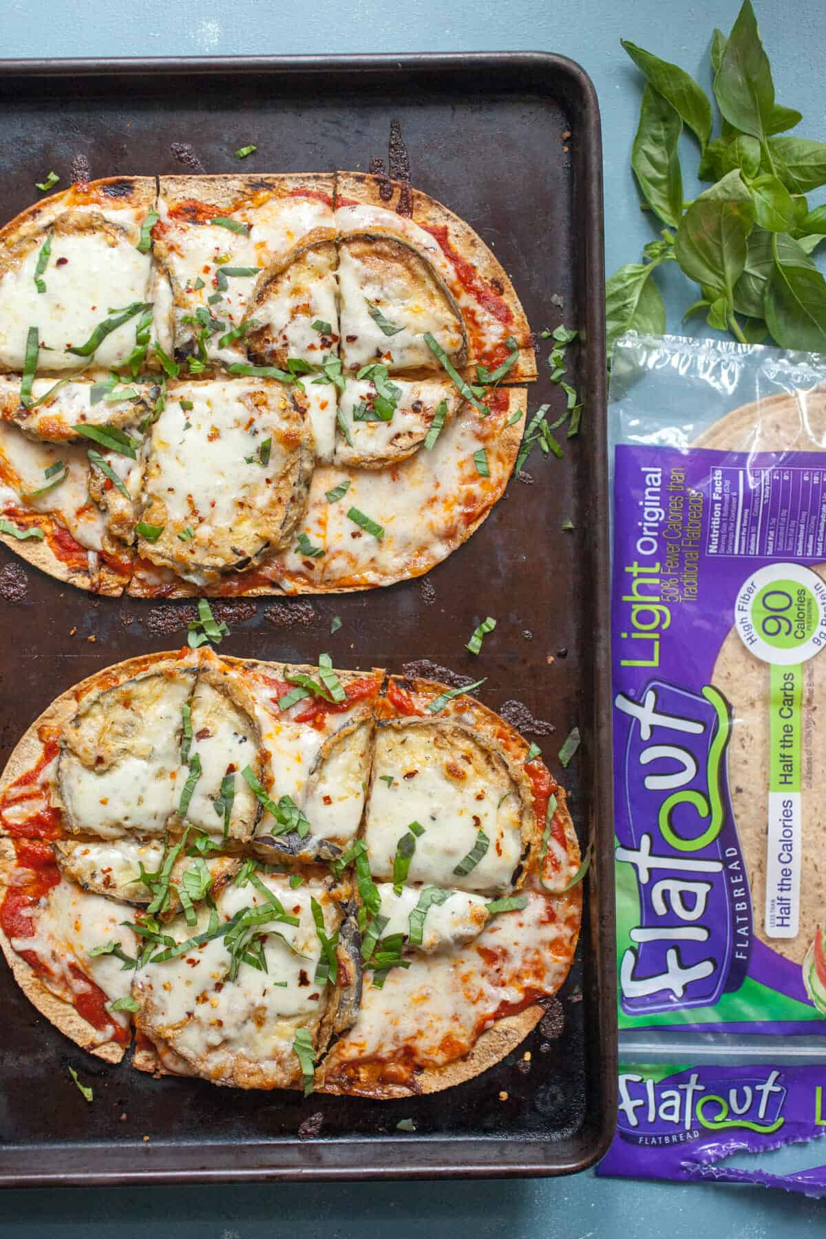 Eggplant Parm Flatbreads: These are the perfect easy eggplant parmesan dish. Easier to make than the classic baked dish, but still has all the flavors! | macheesmo.com
