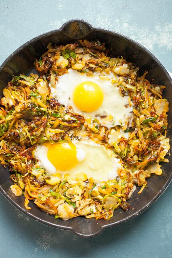 Crispy Brussels Sprout Breakfast Skillet
