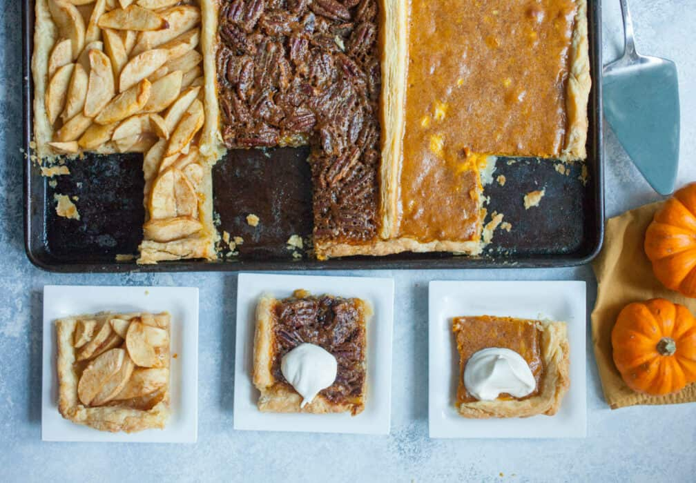 Thanksgiving Tri Pie: For the indecisive pie lover, here's three pies in one: Apple, Pumpkin, and Pecan all baked together! I guess you can make everybody happy after all! | macheesmo.com