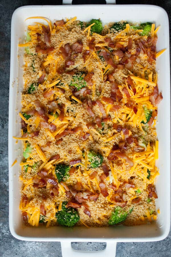 Bacon added to Ultimate Broccoli Cheddar Casserole