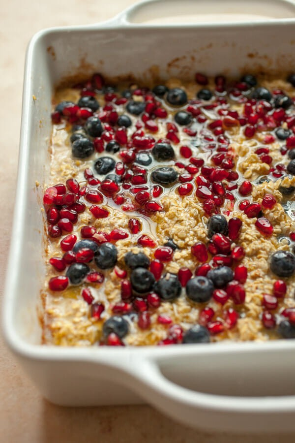 Blueberry Pomegranate Baked Oatmeal