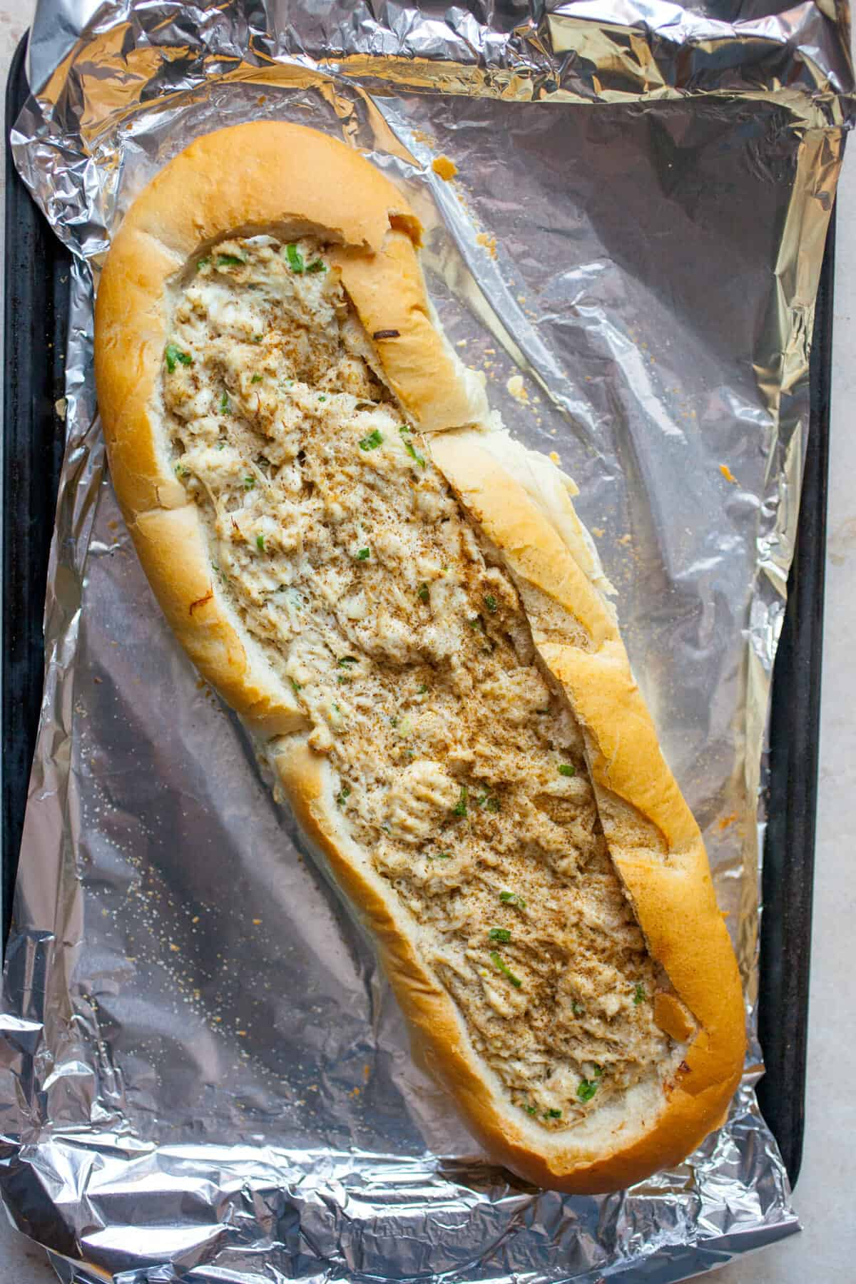 Crab Dip Stuffed French Bread