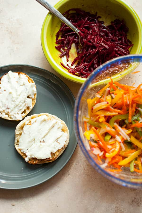 Ricotta Rainbow Veggie Toasts