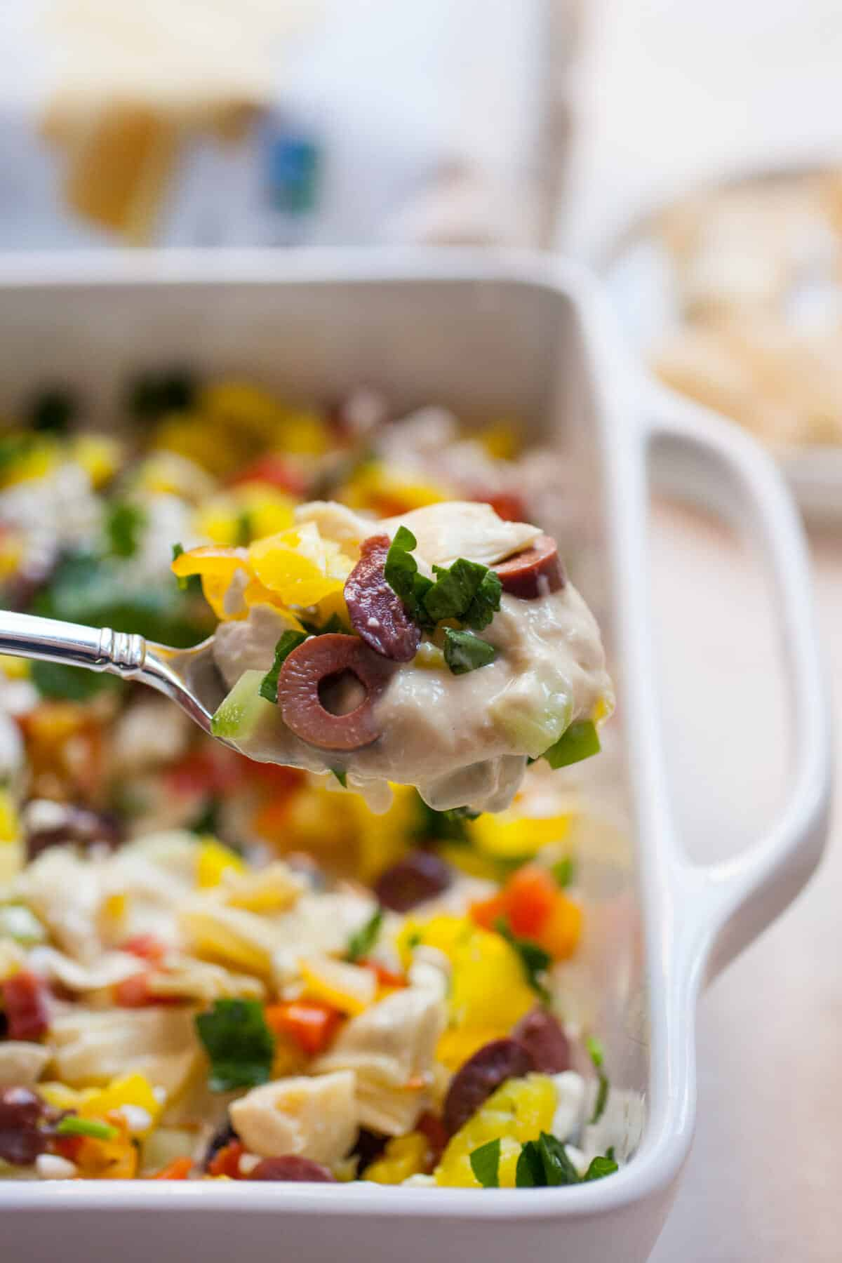 10 Layer Greek Dip: A quick dip that has beautiful colors and flavors. Perfect for a party! | macheesmo.com