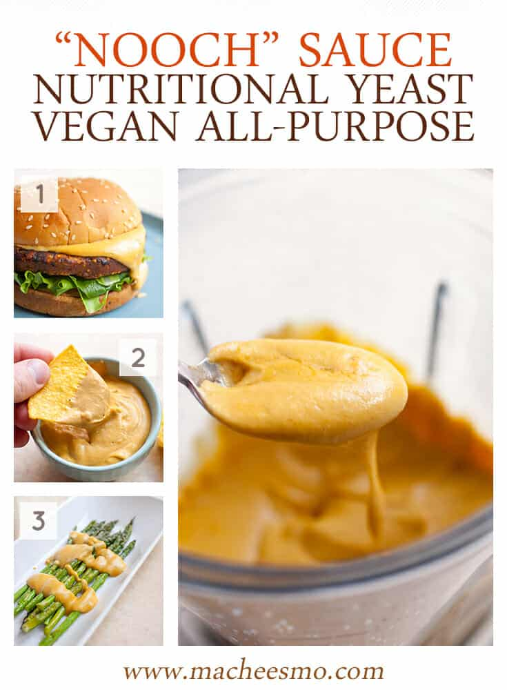 Nooch Sauce: A beautiful creamy and savory sauce made with nutritional yeast and a few other delicious add-ins. Perfect for SO many uses. I like it on burgers, with chips, or on veggies! | macheesmo.com