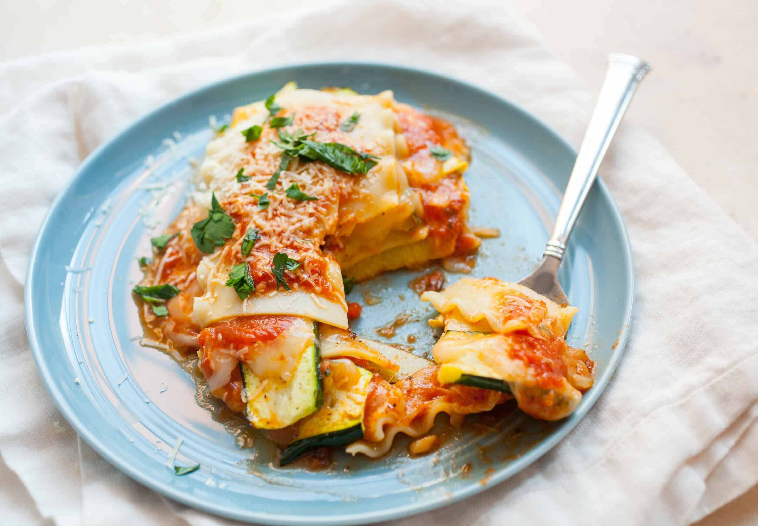 Freeform Veggie Lasagna Stack: If you have a few extra lasagna noodles around, this quick weeknight dinner is the perfect way to use them! | macheesmo.com