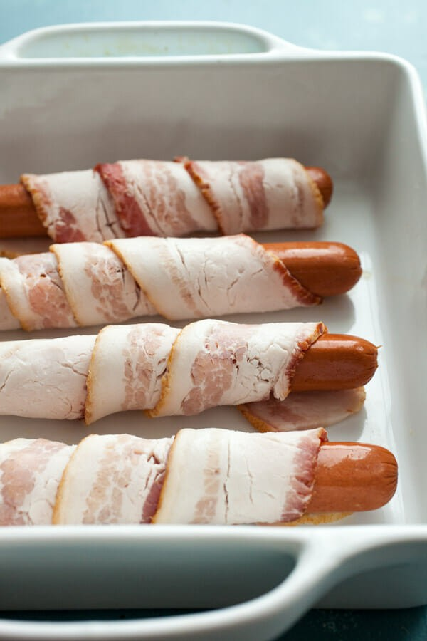 Bacon wrapped hot dogs - Sonoran Hot Dogs