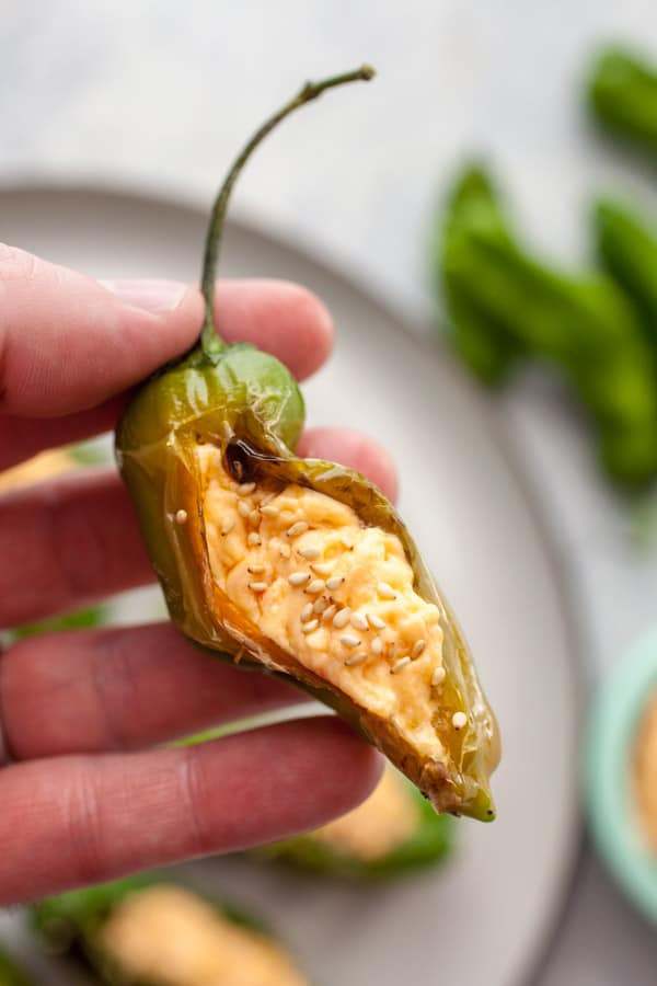 Pimento Cheese Stuffed Shishito Peppers