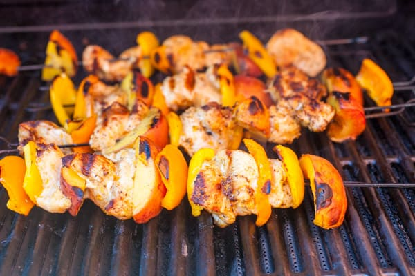Chicken Peach Kebabs grilling