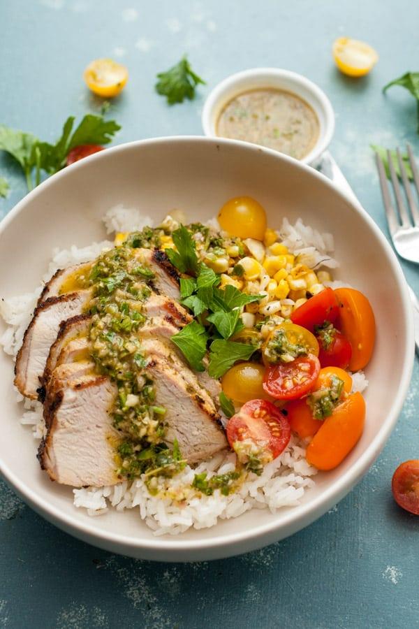 Chimichurri Pork Rice Bowls