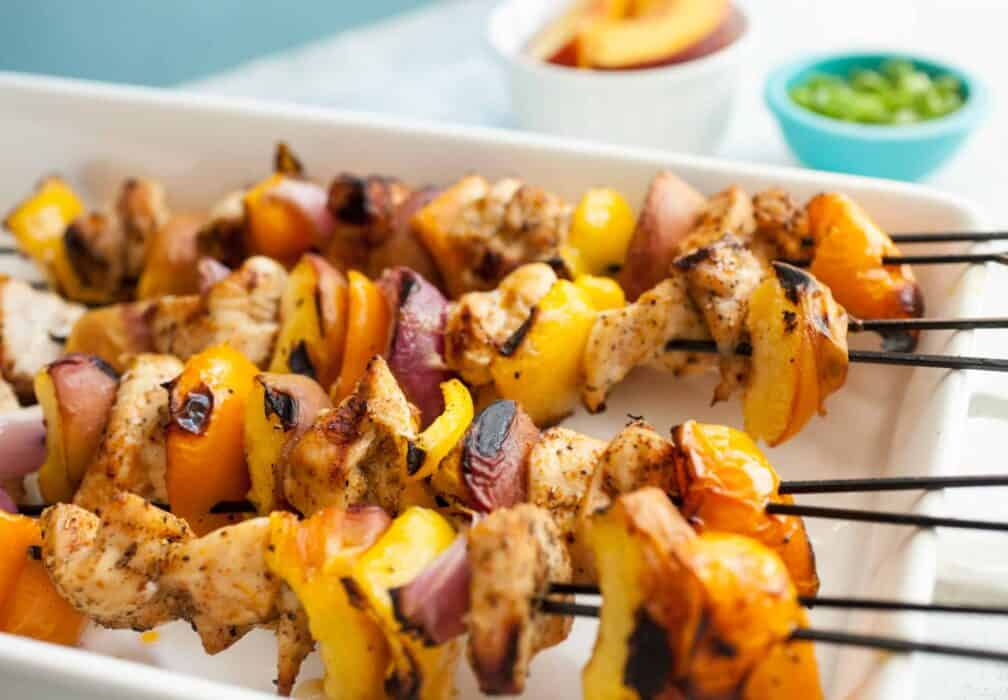 Peach Chicken Kebabs