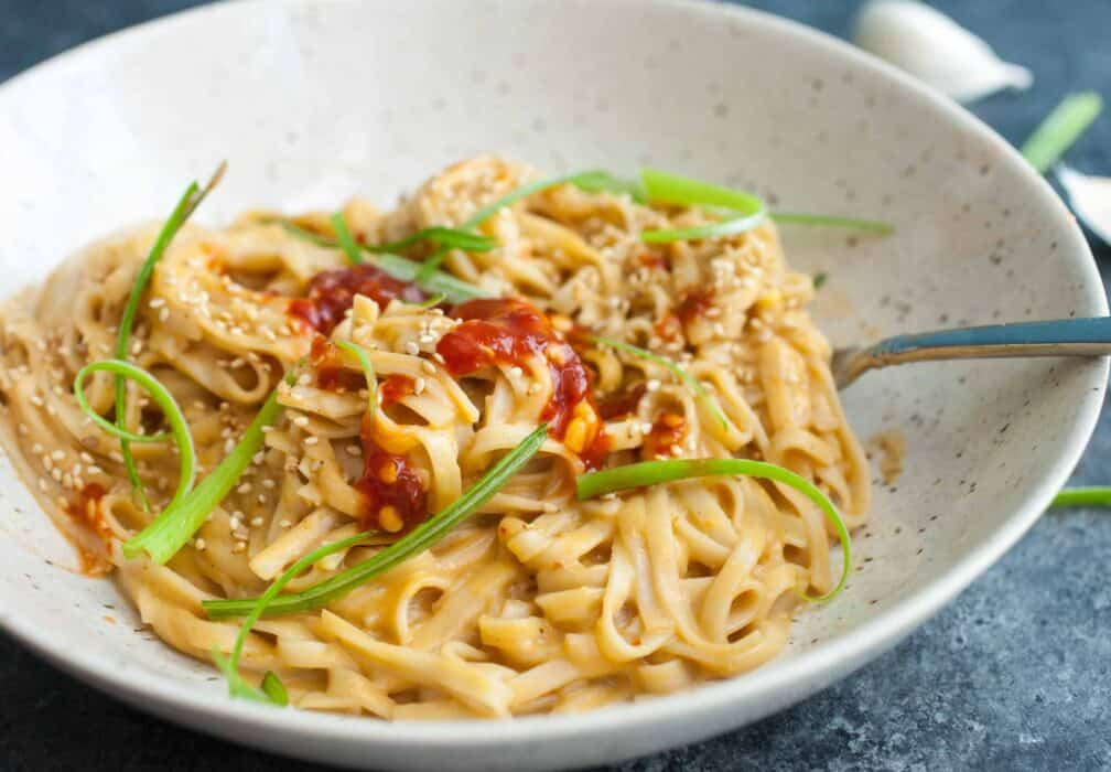 Roasted Garlic Peanut Noodles
