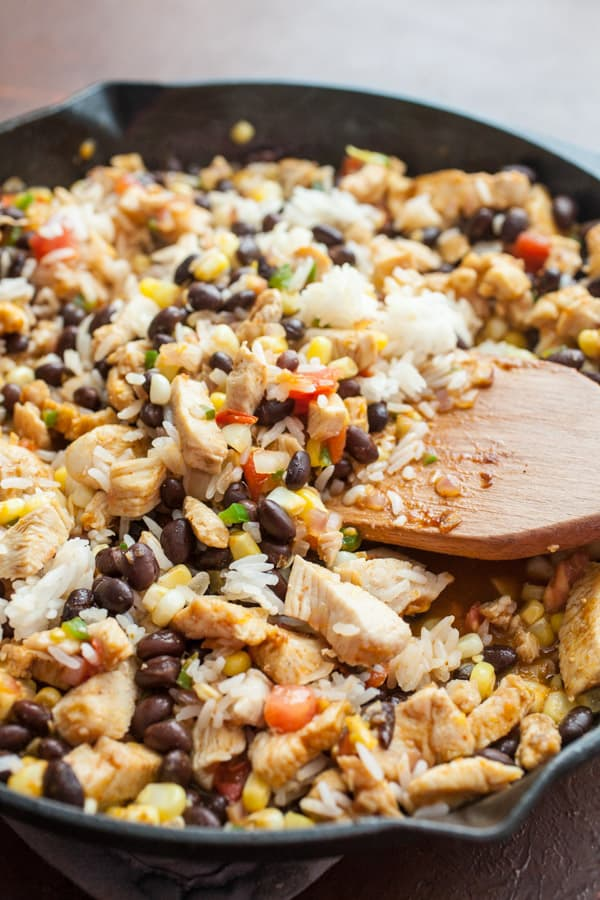 Rice for thickener - Cheesy Chicken Taco Skillet
