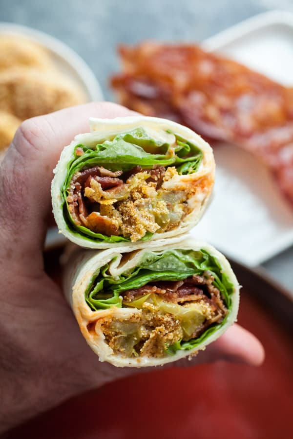 Fried Green Tomato Wraps with Bacon and Creamy dressing