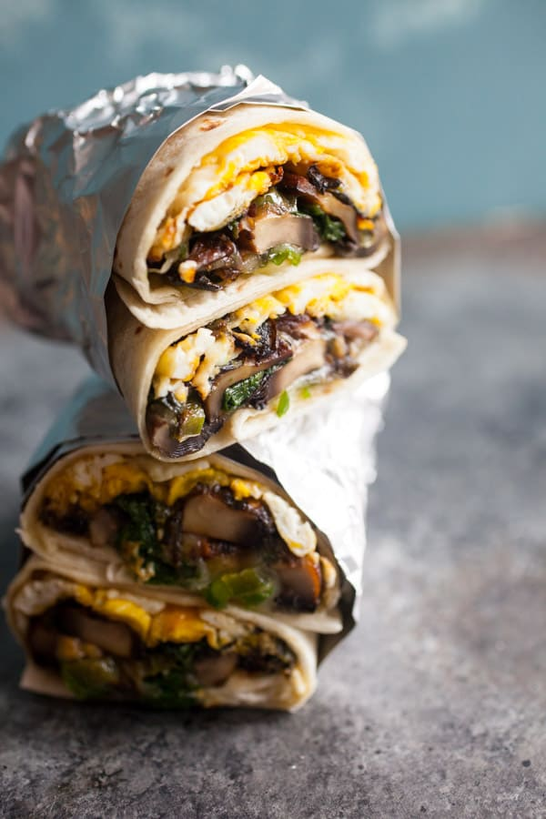 Spicy Mushroom Swiss Breakfast Wraps