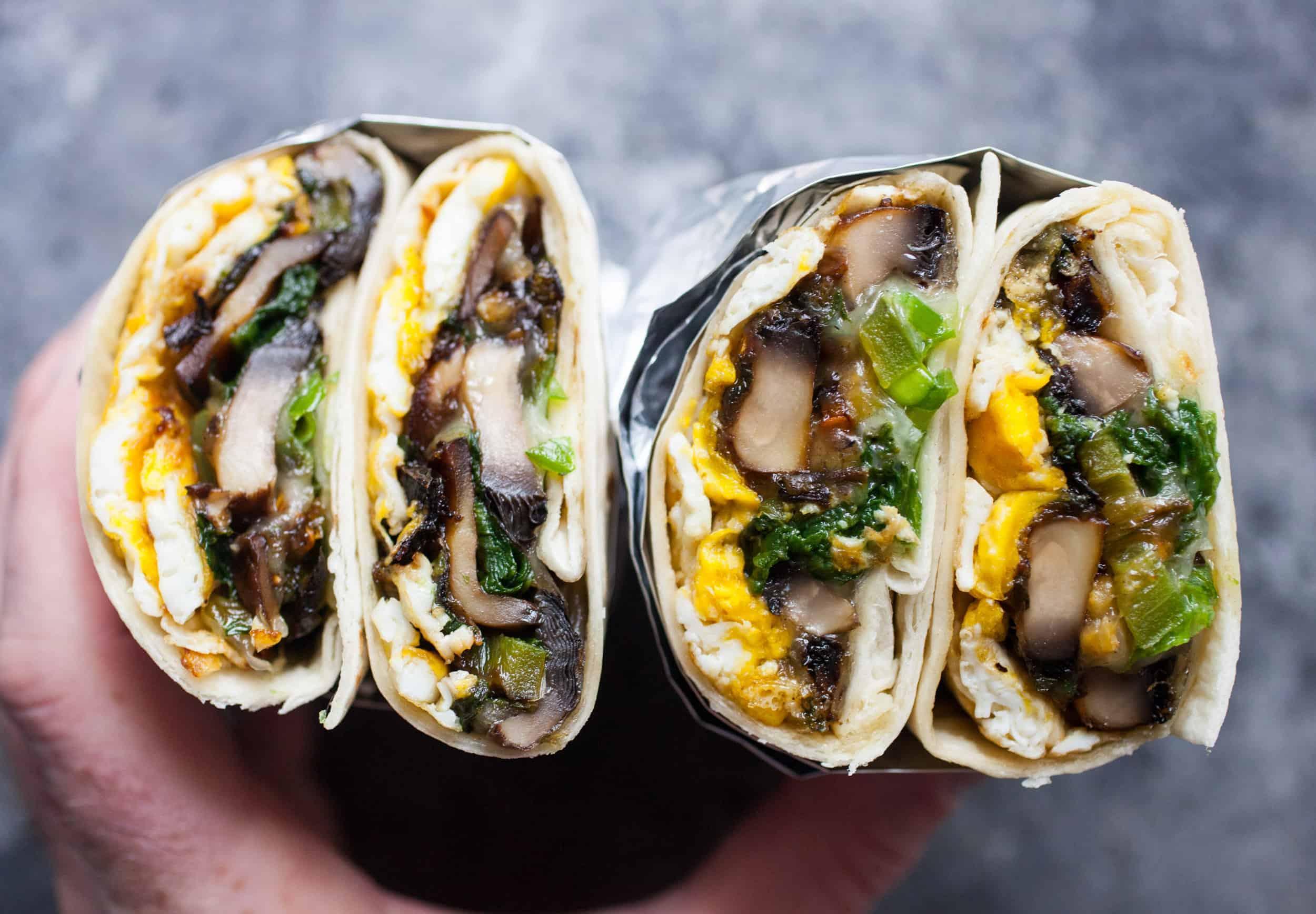 Spicy Mushroom Swiss Breakfast Wrap