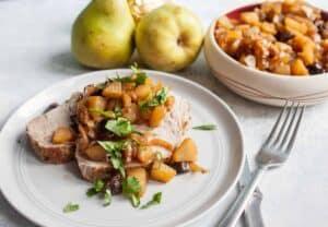 Roasted Pork Loin with Pear Chutney
