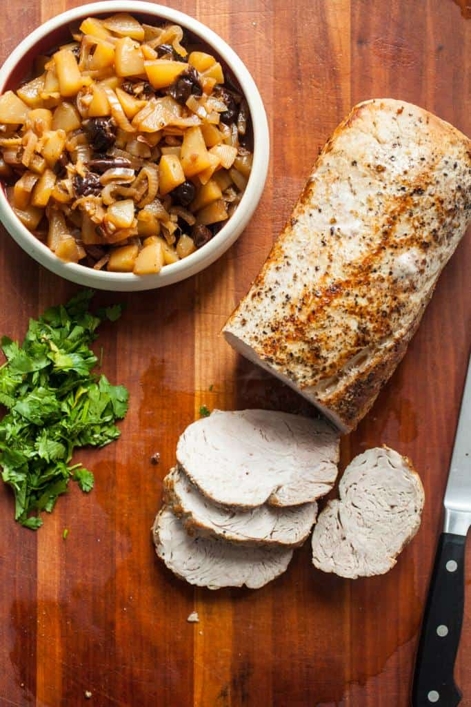 Roasted Pork Loin with Pear Chutney