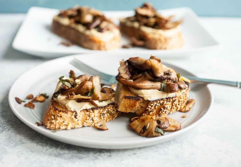 Mushroom Hummus Toast