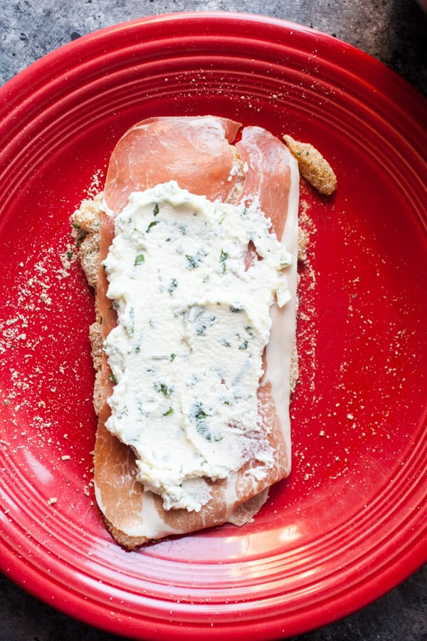Ricotta added to chicken for Rollatini