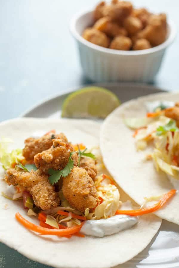 Easy Popcorn Shrimp Tacos Made With Fresh Shrimp Macheesmo