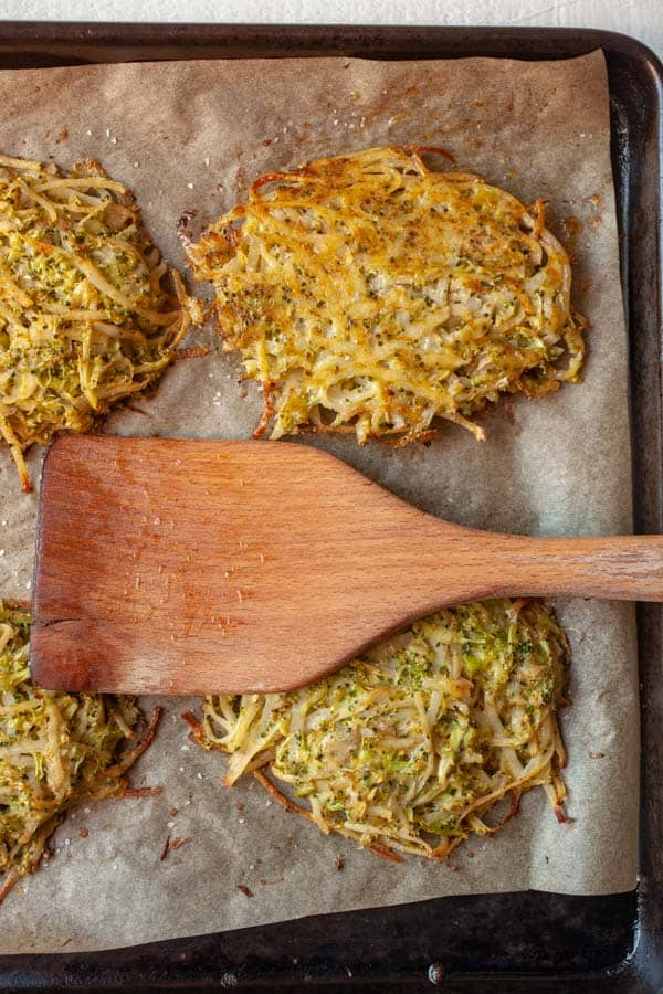 Flipped hash browns - broccoli hash browns