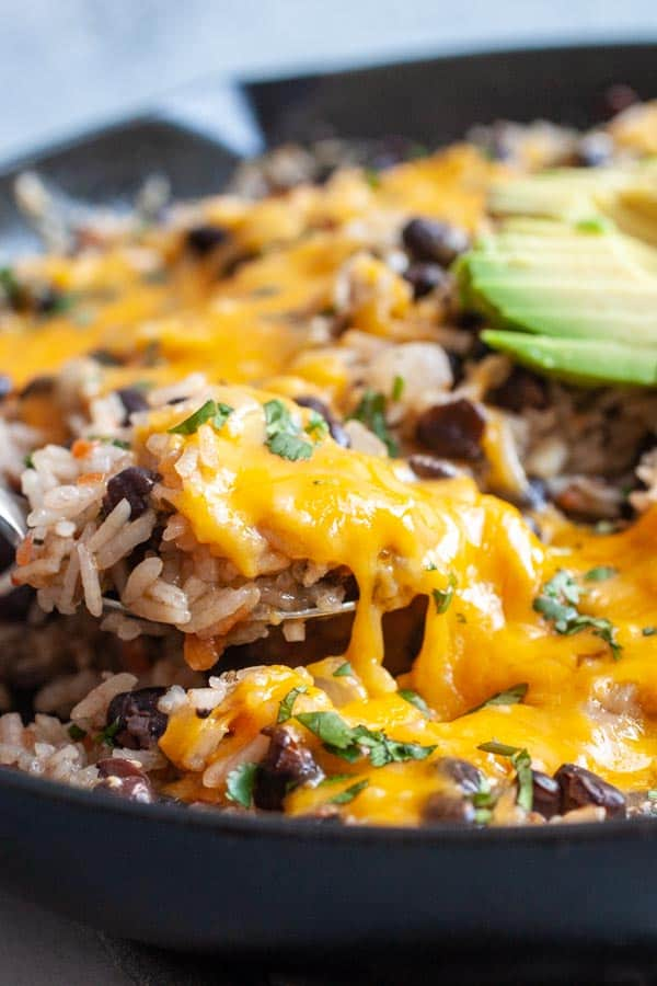 Cheesy Skillet Rice and Beans
