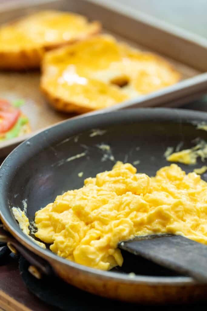 Soft scrambled eggs for croissant sandwiches
