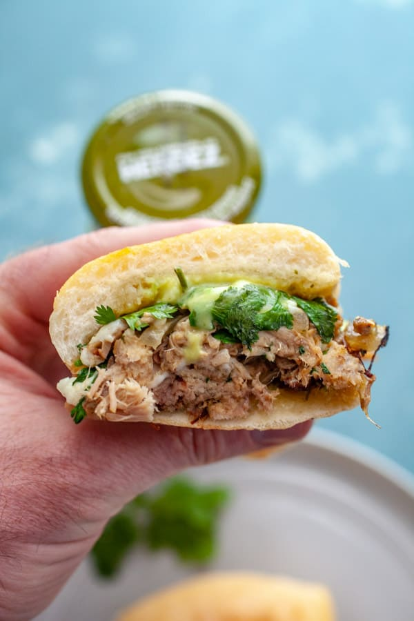 Pulled Pork Tortas with Guacamole Salsa