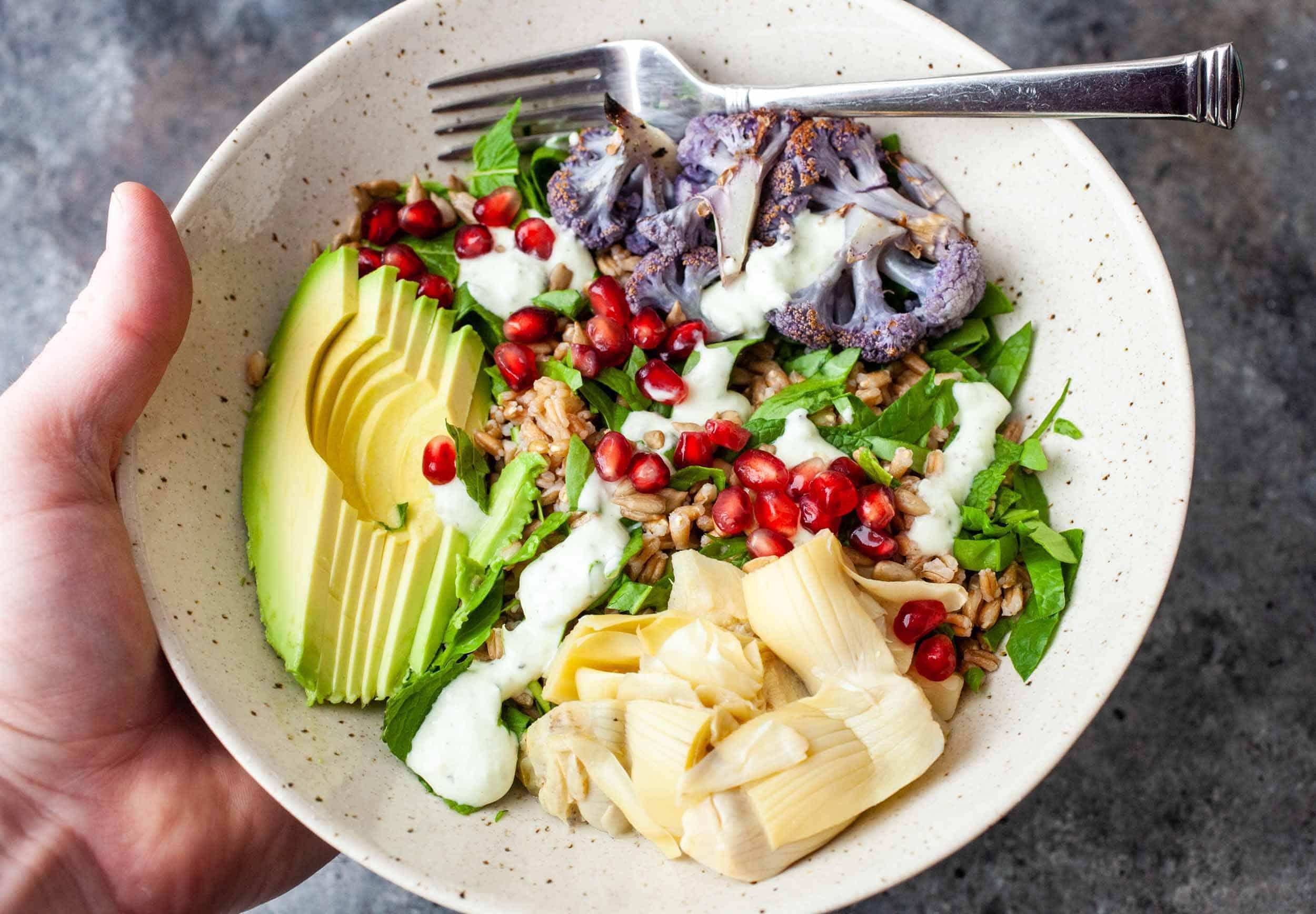 Roasted Cauliflower Farro Mediterranean Salad feature