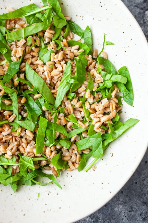 Farro and Spinach - Mediterranean Salad Bowls