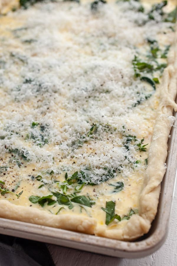 Sheet Pan Quiche is ready to bake.