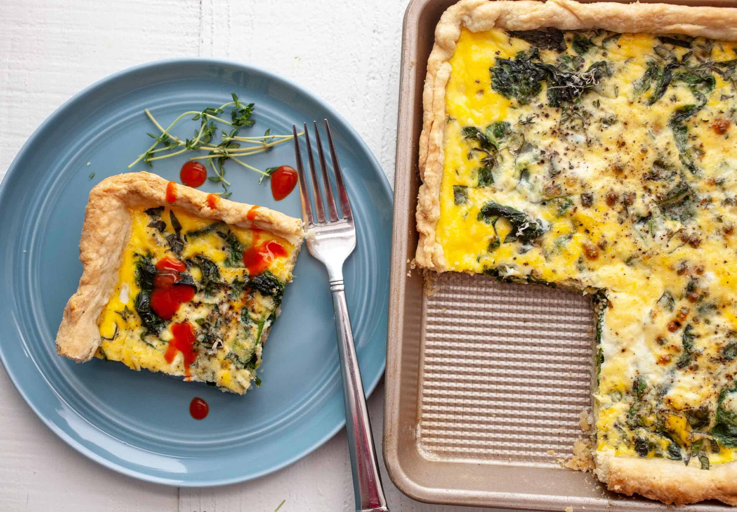 Spinach Basil Sheet Pan Quiche