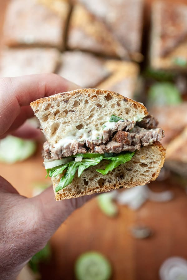 Skirt Steak Sandwiches with Lemon Parsley Mayo