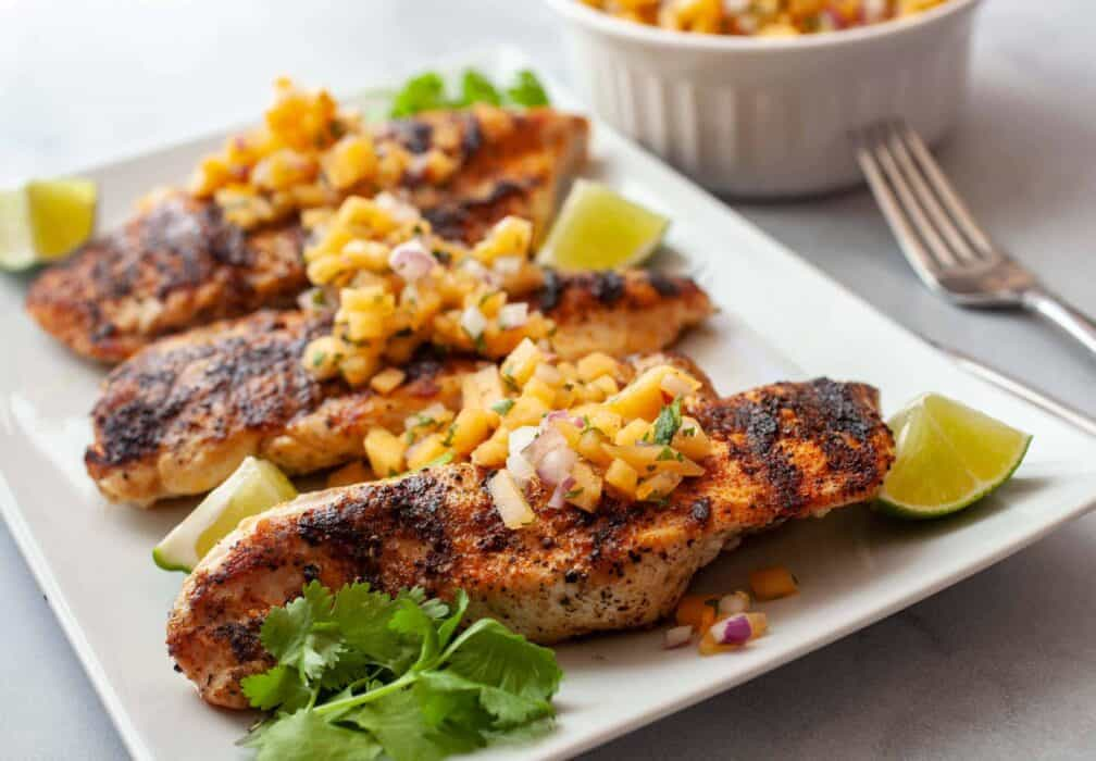 Grilled Chicken with Cantaloupe Habanero Salsa