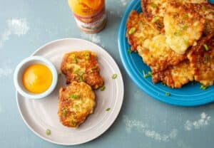 Sweet Corn Fritters with Sriracha Mayo