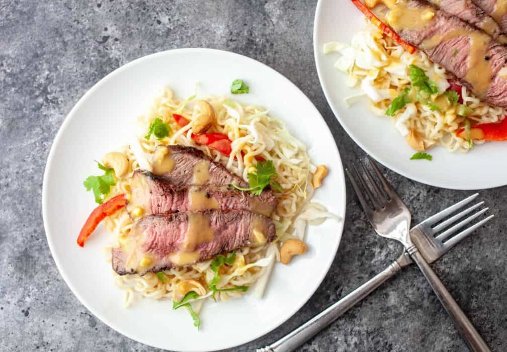 Ramen Steak Salad with Citrus Dressing