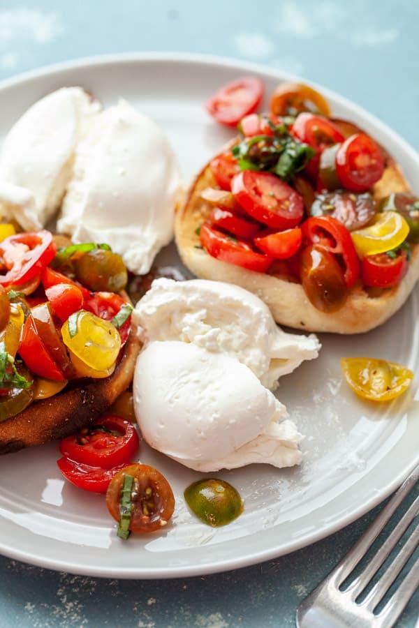 Plating Tomato Burrata Benedict