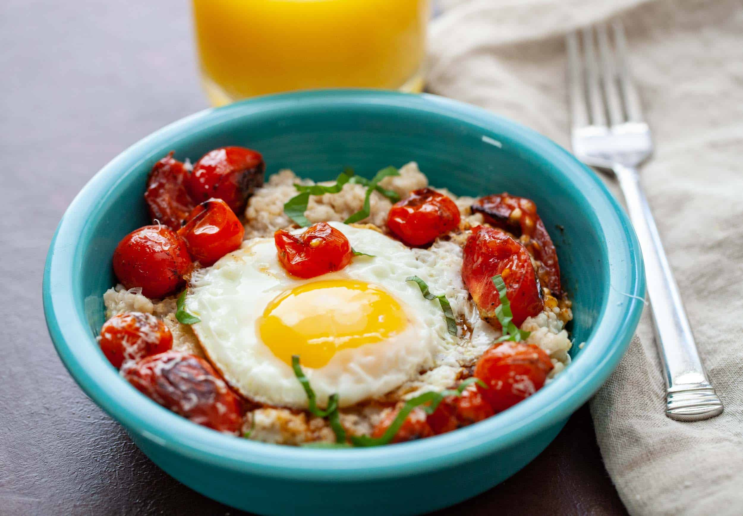 Savory Tomato Oatmeal with Egg