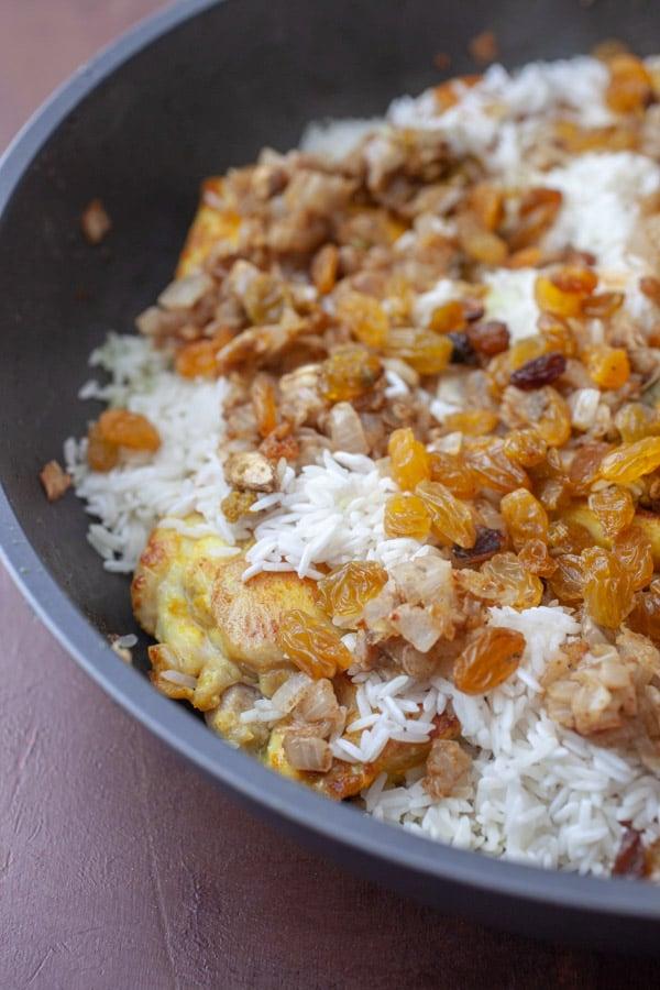 Adding layers - Chicken Biryani