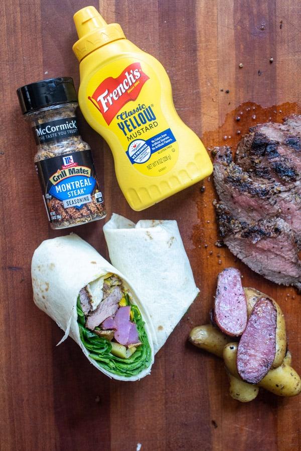 Grilled Steak and Potato Wraps