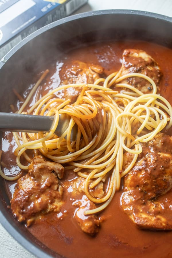 Tossed together - Chicken Mole Pasta