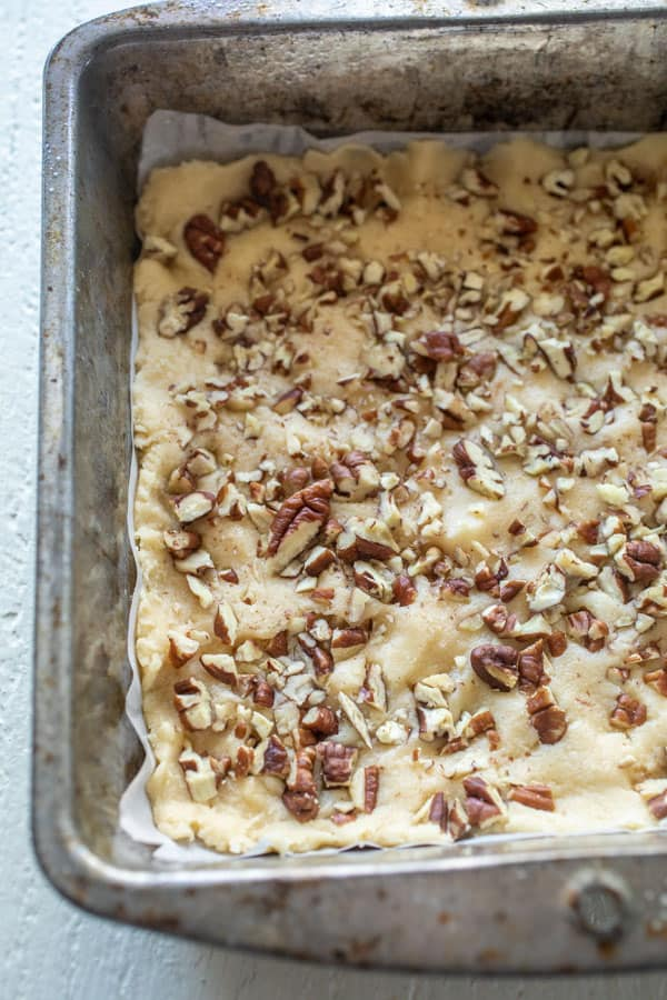 Bottom Layer - pecans and cookie crust.
