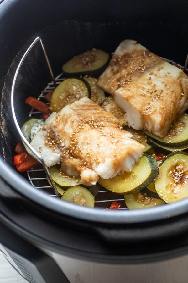 Pressure Cooker Sesame Cod with Veggies
