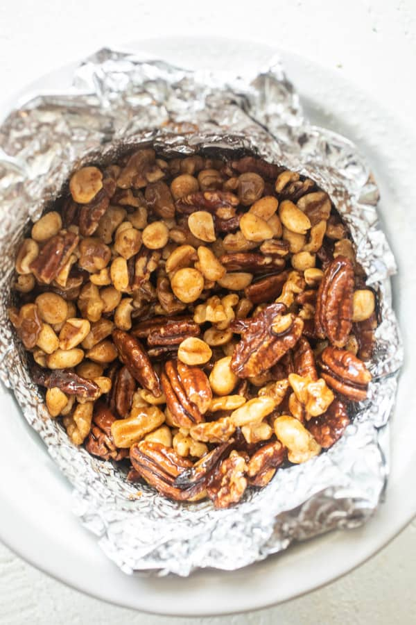 Use foil - Sweet and Spicy Nuts