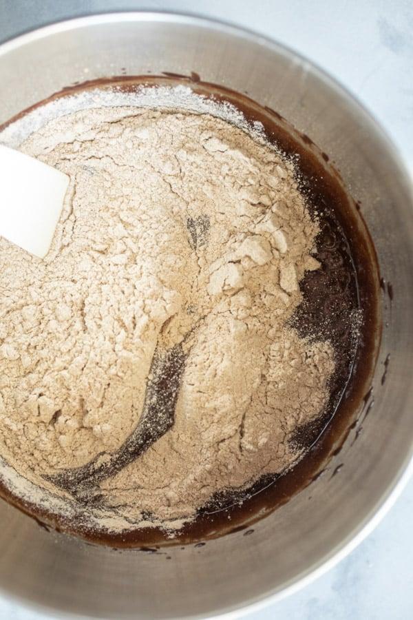 Adding flour - Weeknight Baking Brownies
