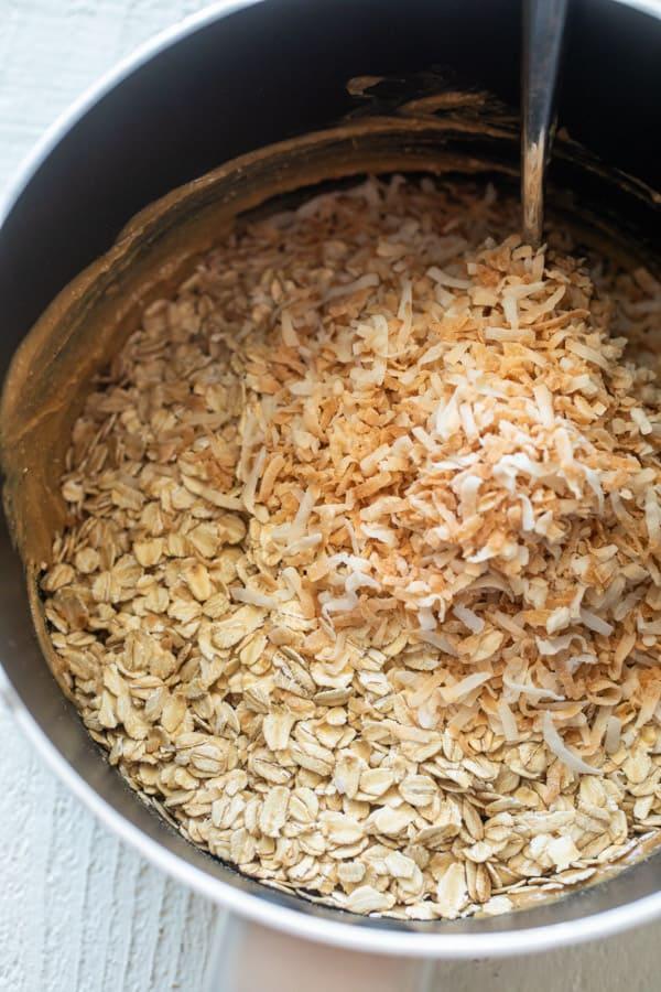 Adding Oats - Toasted Coconut Oatmeal Bars