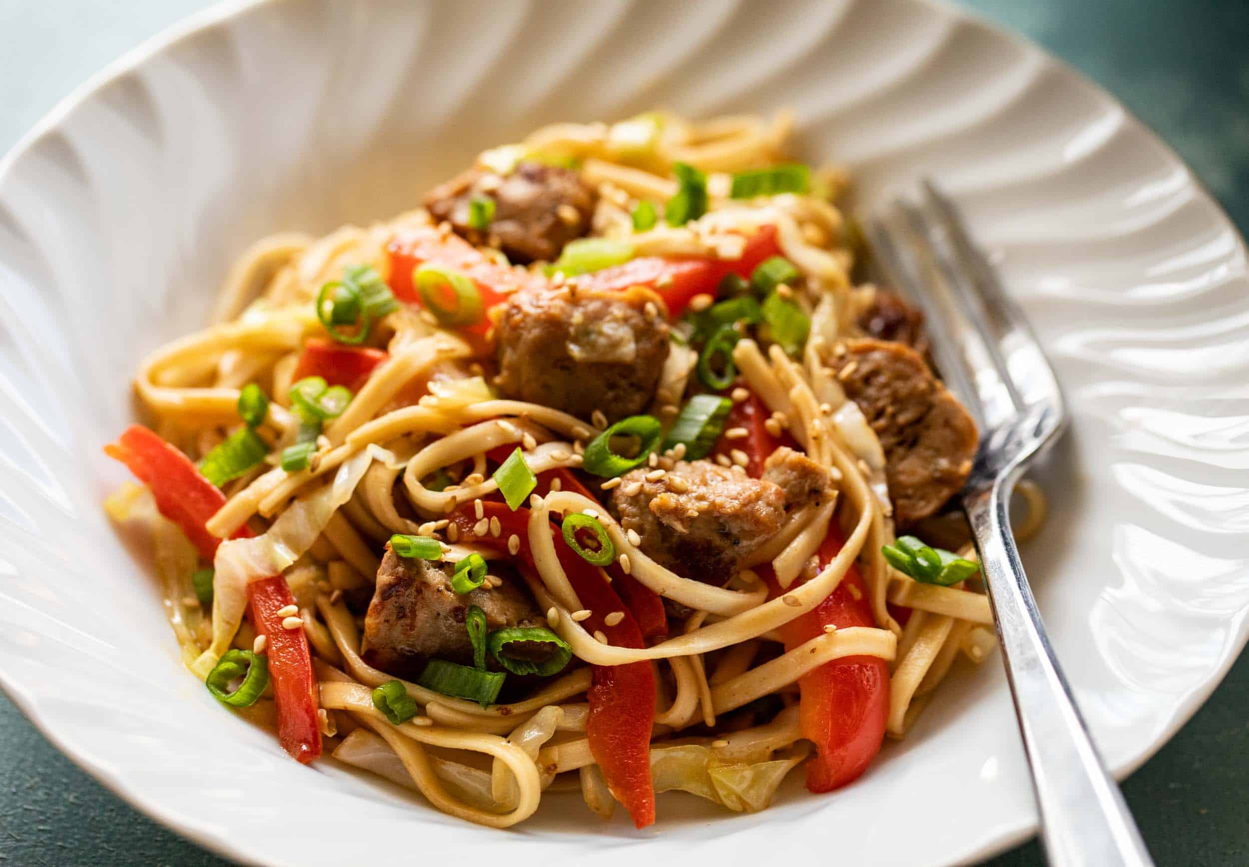 Chicken Meatball Noodle Stir Fry