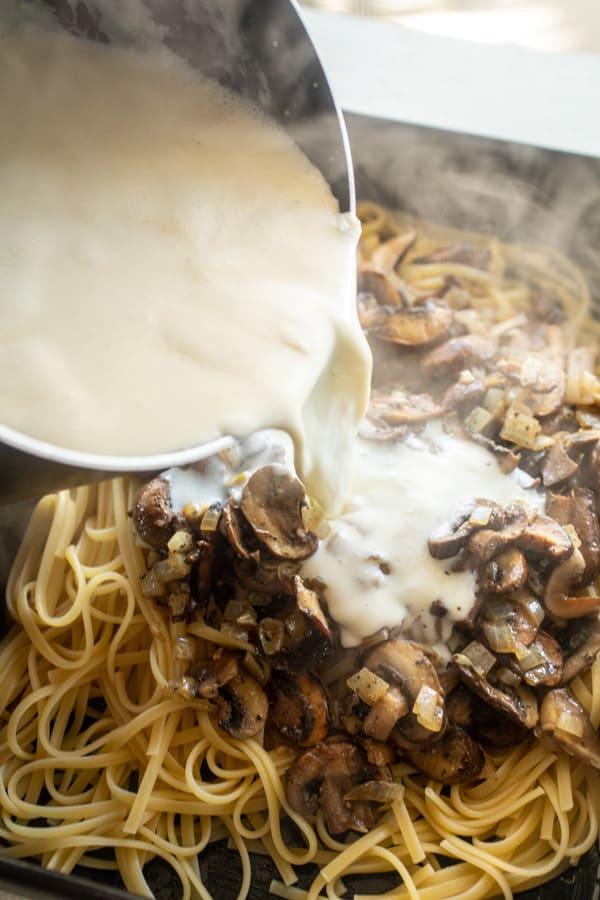 Sauce over pasta for tetrazzini
